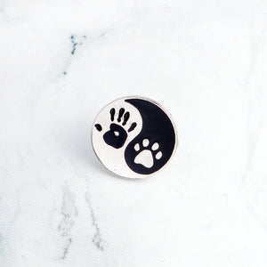Give me 5 - palm of a hand & paw of a dog - Cute Dog pin