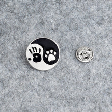 Load image into Gallery viewer, Give me 5 - palm of a hand & paw of a dog - Cute Dog pin