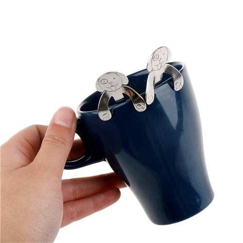 4 pieces set Lovely Dog Hanging Cup Stainless Steel Coffee Spoons