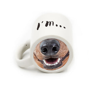 Funny ceramic dog nose coffee mug