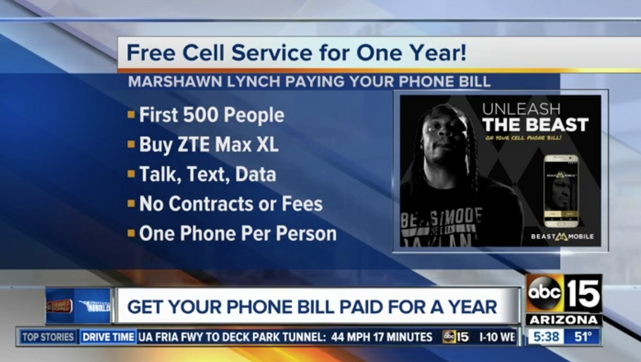 ABC 15: Marshawn Lynch paying your phone bill for a year!