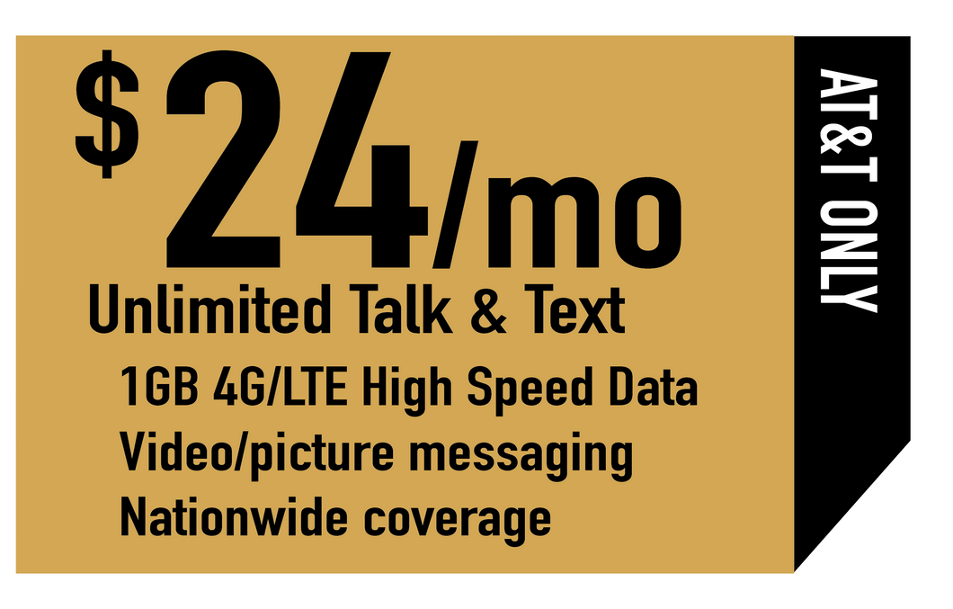 Unlimited Talk, Text & 1GB High Speed Data (AT&T Only)