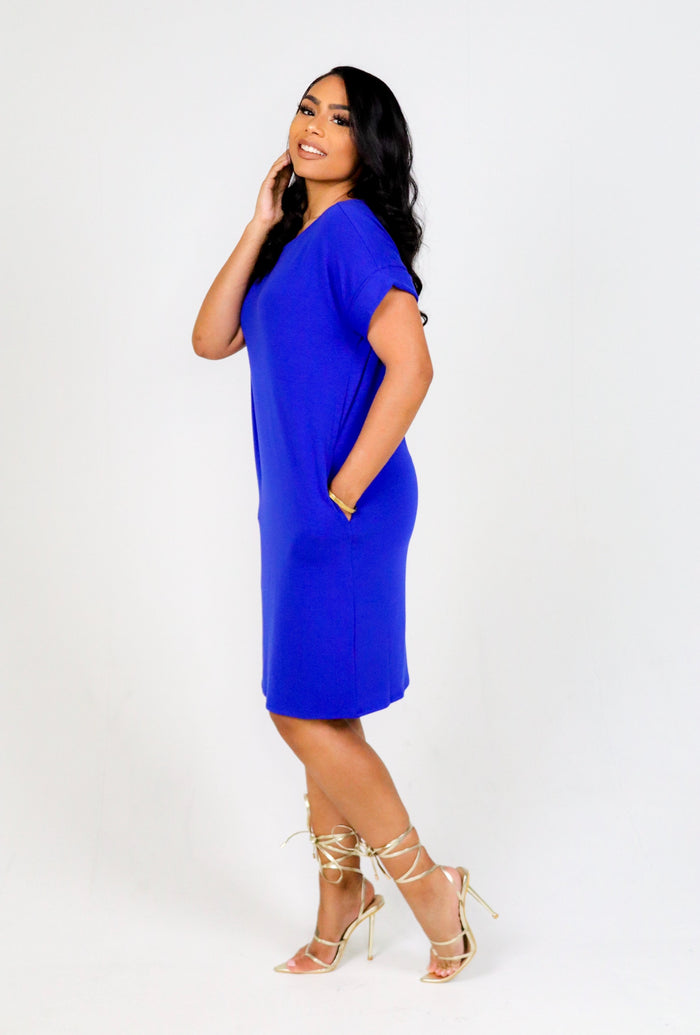 Blossom Shirt Dress (Bright Blue)