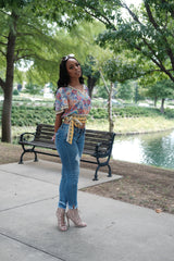 FLORAL PRINT TOP WITH BELL SLEEVES