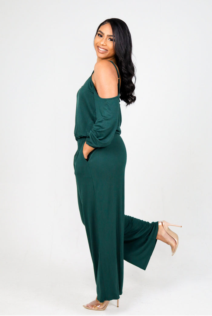 COLD SHOULDER JUMPSUIT (Hunter Green) FINAL SALE