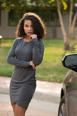 RUCHED LONG SLEEVE DRESS (Dark Gray)