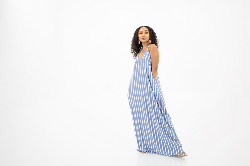Ana Dress (Blue and White Stripe)