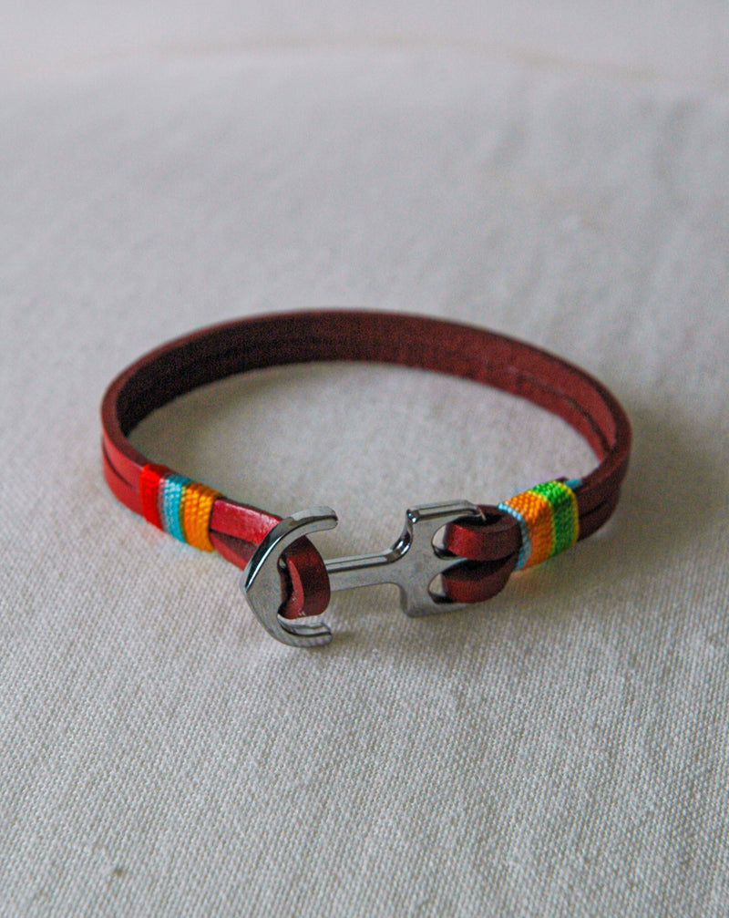 Red Leather Anchor Bracelet