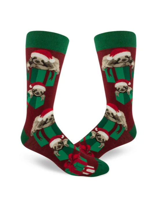 Santa Sloth Men's Crew Socks