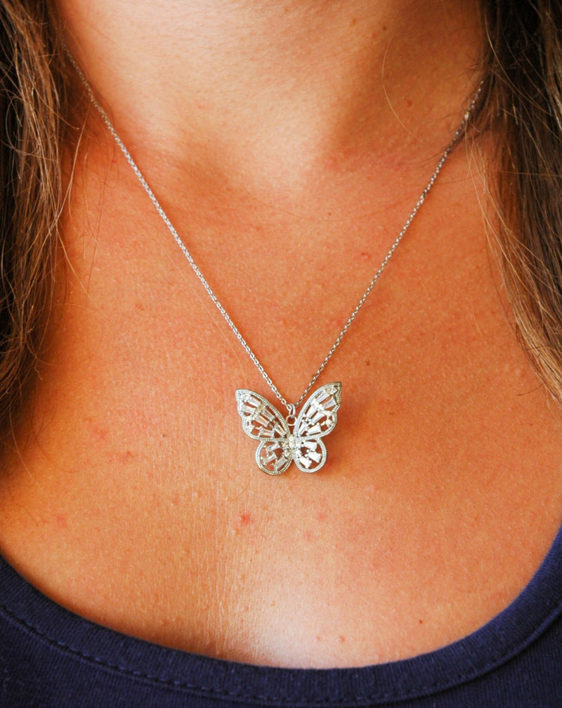 Silver Butterfly Necklace With Crystals