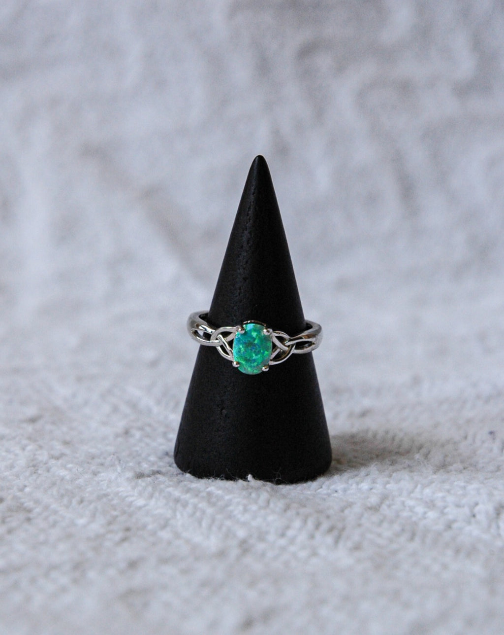 Opal Ring with Twisted Sides Green