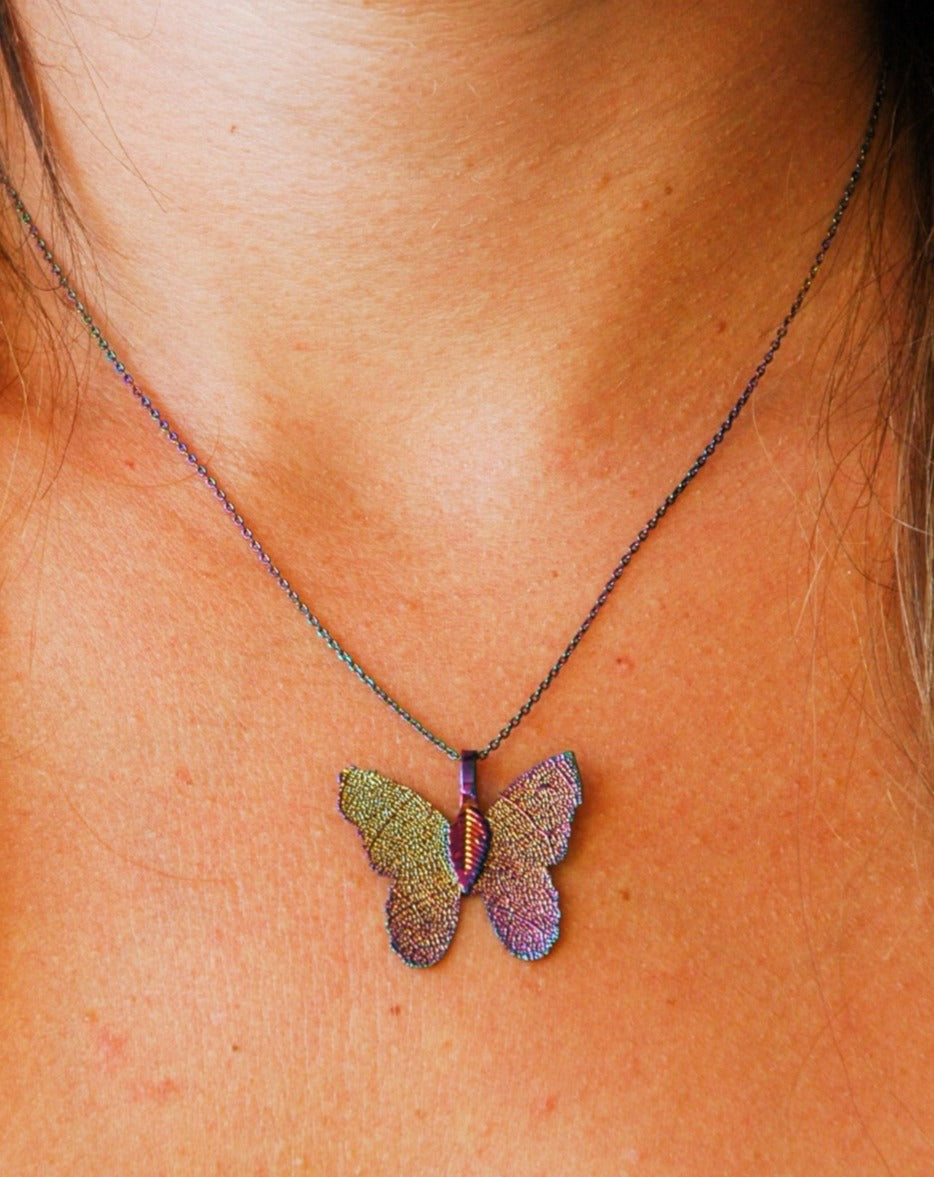 Rainbow Colored Butterfly Necklace
