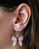 Pink and Black Butterfly Earrings