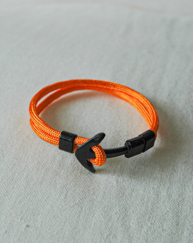Orange and Black Anchor Bracelet
