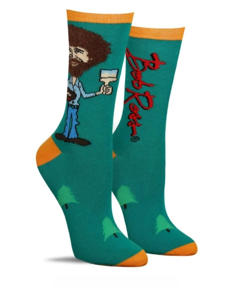 True Bob Ross Green Crew Socks