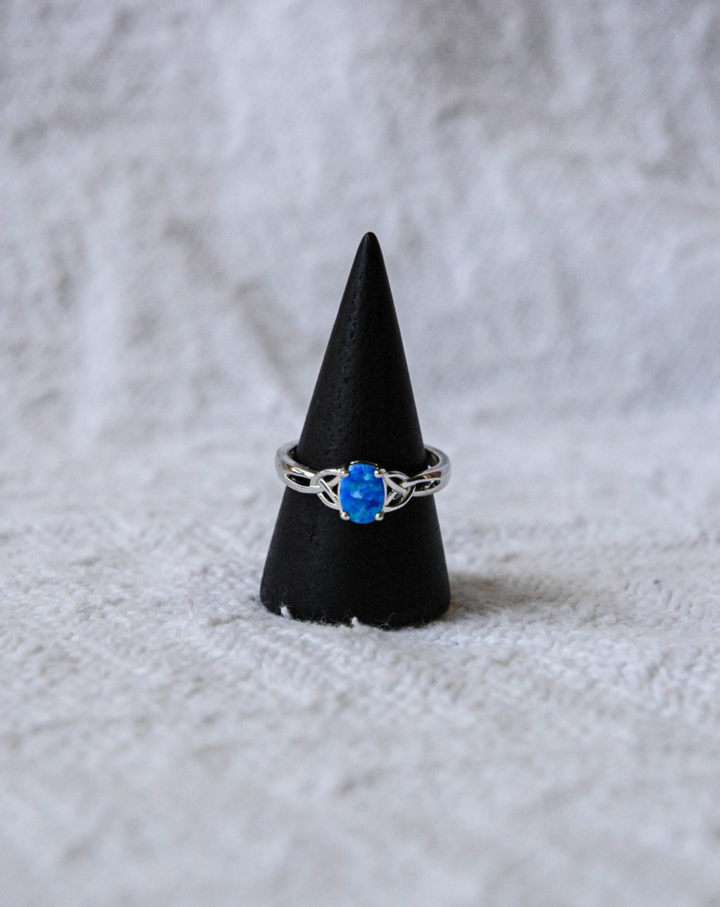 Opal Ring with Twisted Sides Blue
