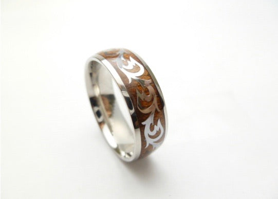 Stainless Steel Ring w/ Koa Wood Tribal Design