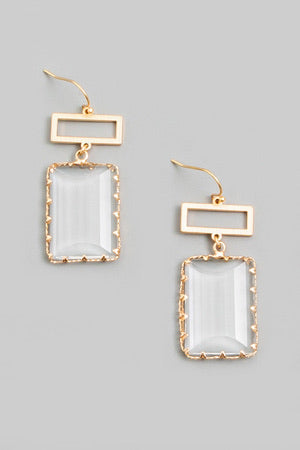 Square Seagrass Drop Earring