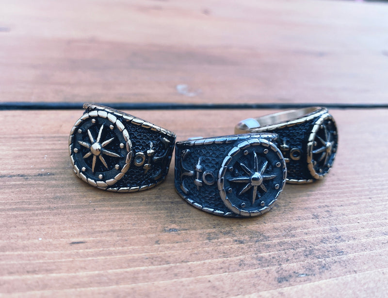 Stainless Distressed Compass Ring