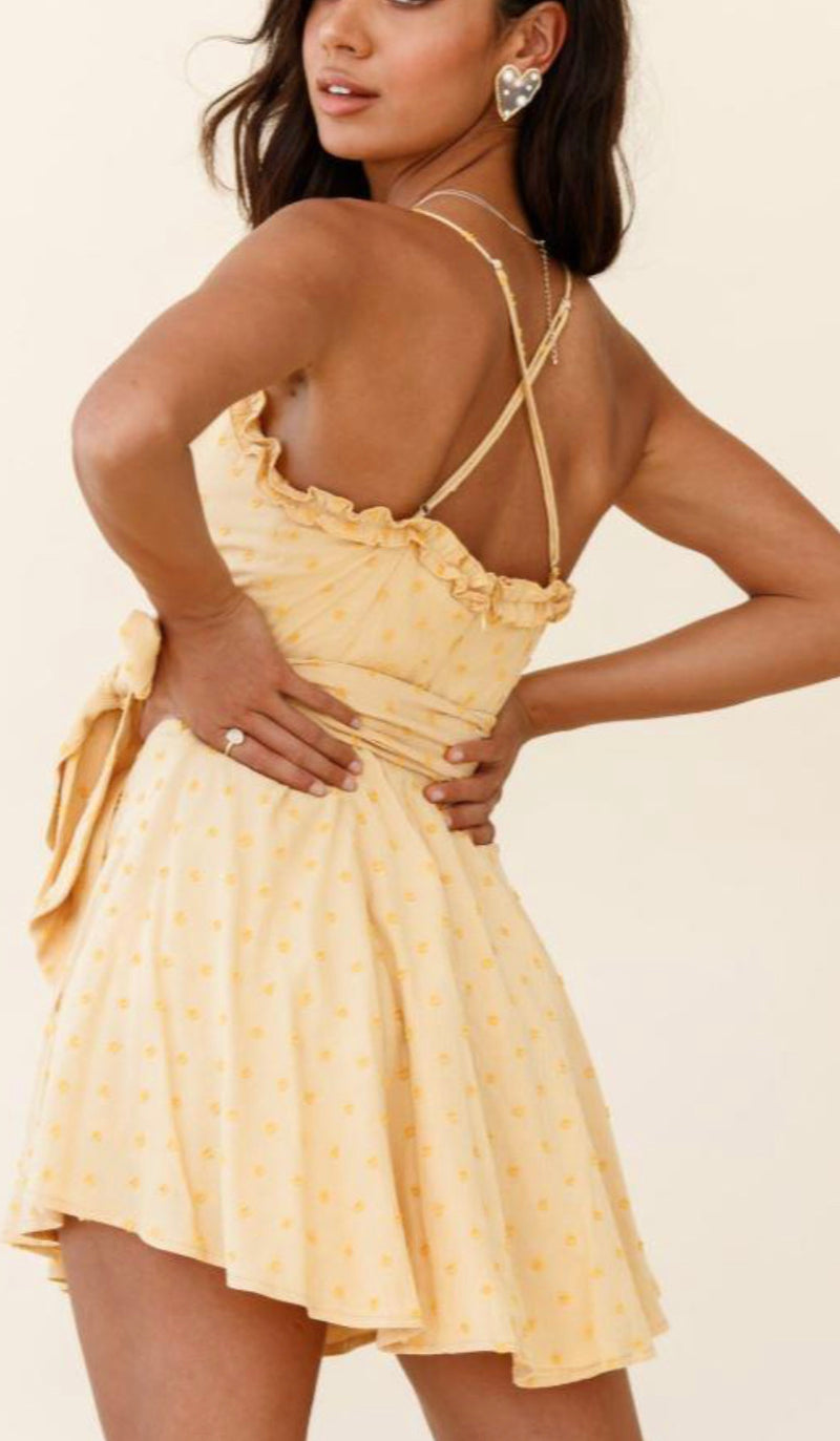 Strappy Cross Tie Yellow Dotted Dress