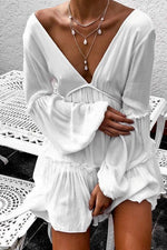 Puff Sleeve Double V Neck Dress~