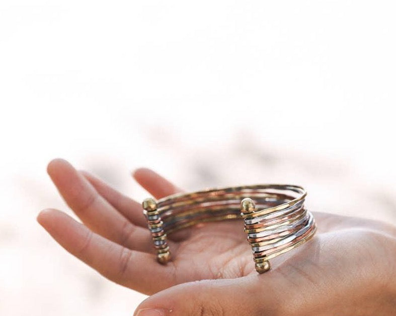 Pure Copper Hammered Nail Bracelet