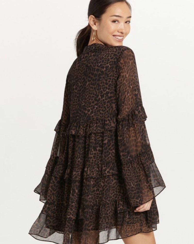 Our Brown Leopard Ruffled Dress