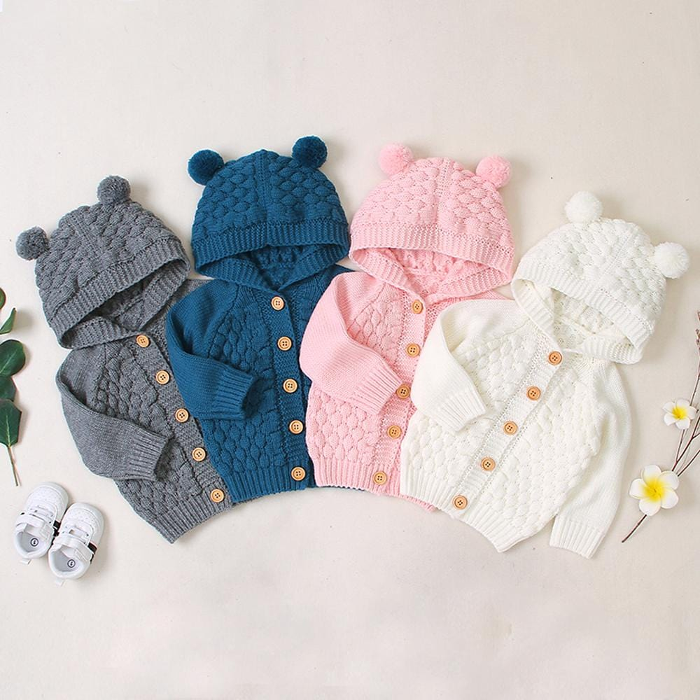 Teddy Bear Knit Hooded Cardigan