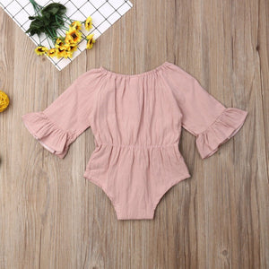 Long Sleeve Bow Romper