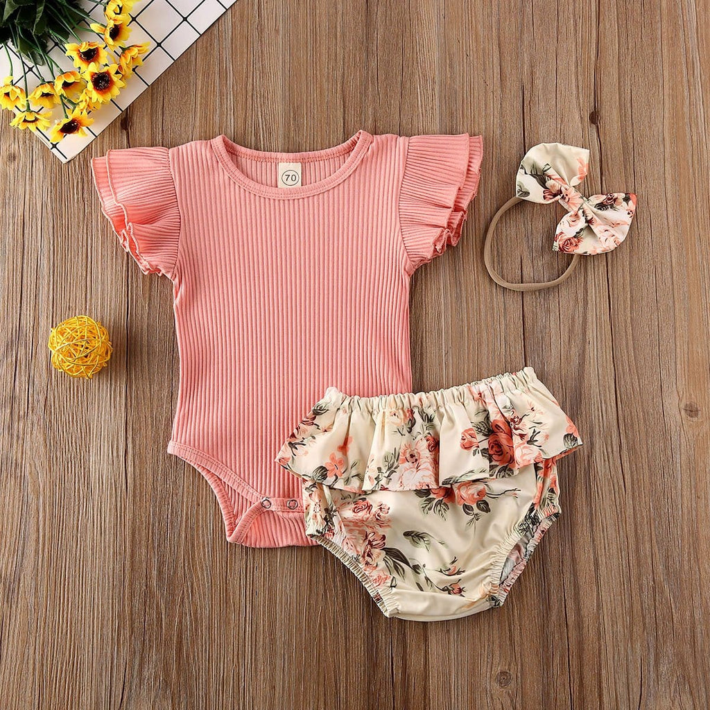 Pink Floral 3 pc Bloomer Set