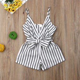 V-Neck Striped Bow Romper
