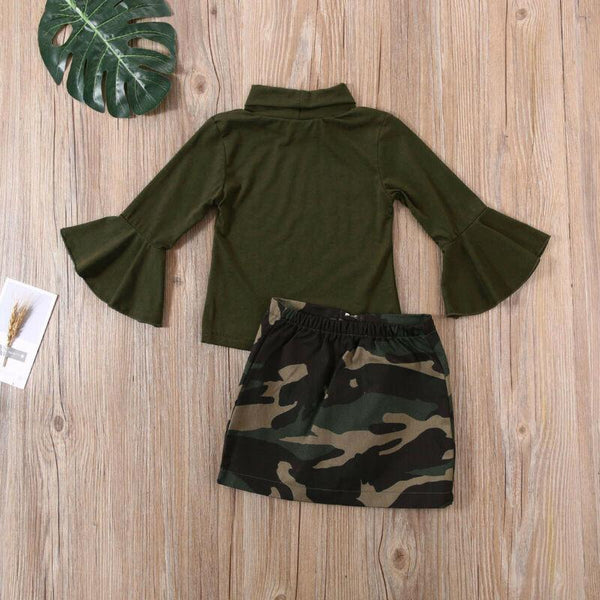 Camo Zip-Front Skirt Set