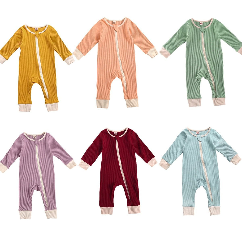 Solid Colored Zip-Front Bodysuits