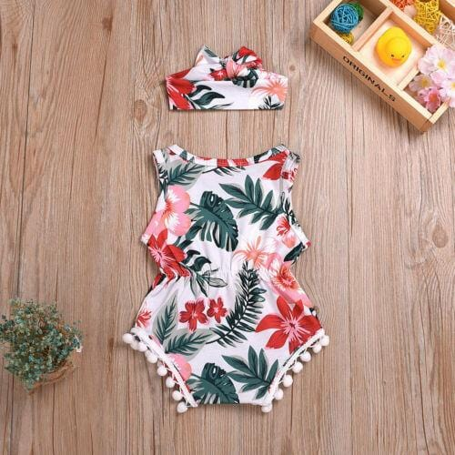 Tropical Flower 2 pc Romper Set