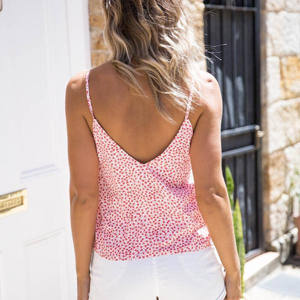 Casual V Neck Sleeveless Floral Printed Tops