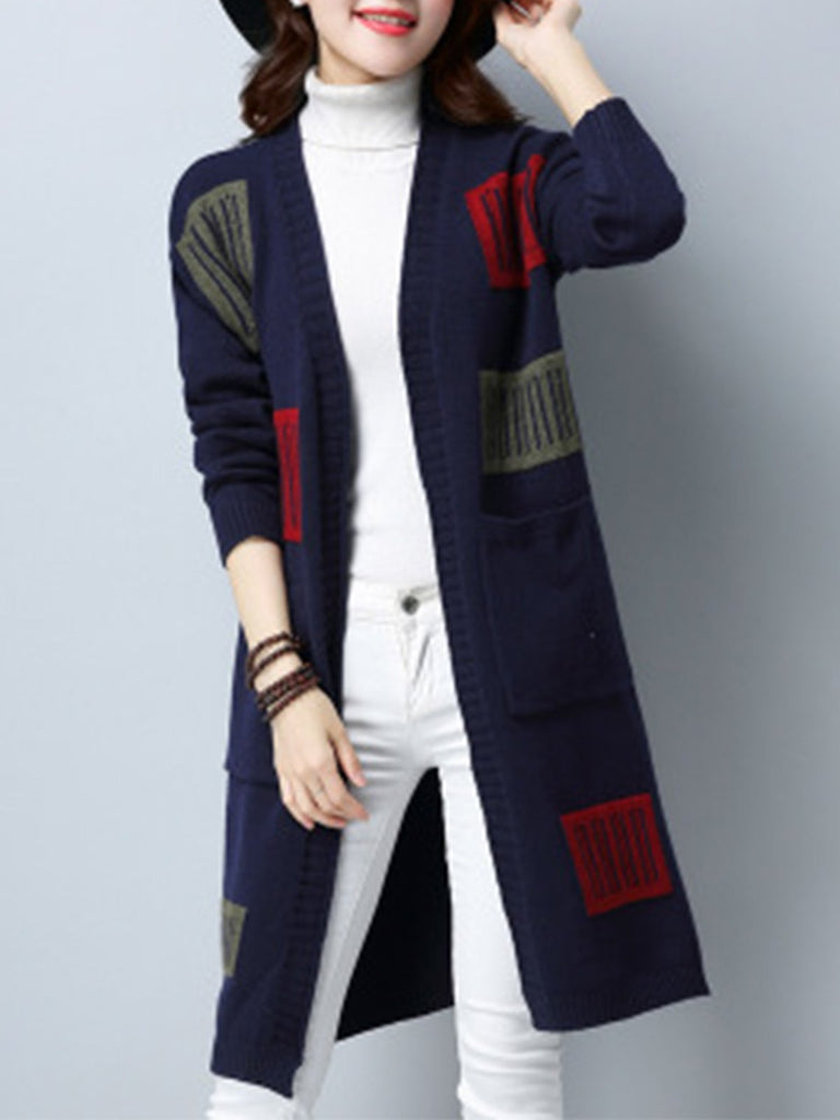 Plus Size Abstract Long Sleeve Knitted Cardigan