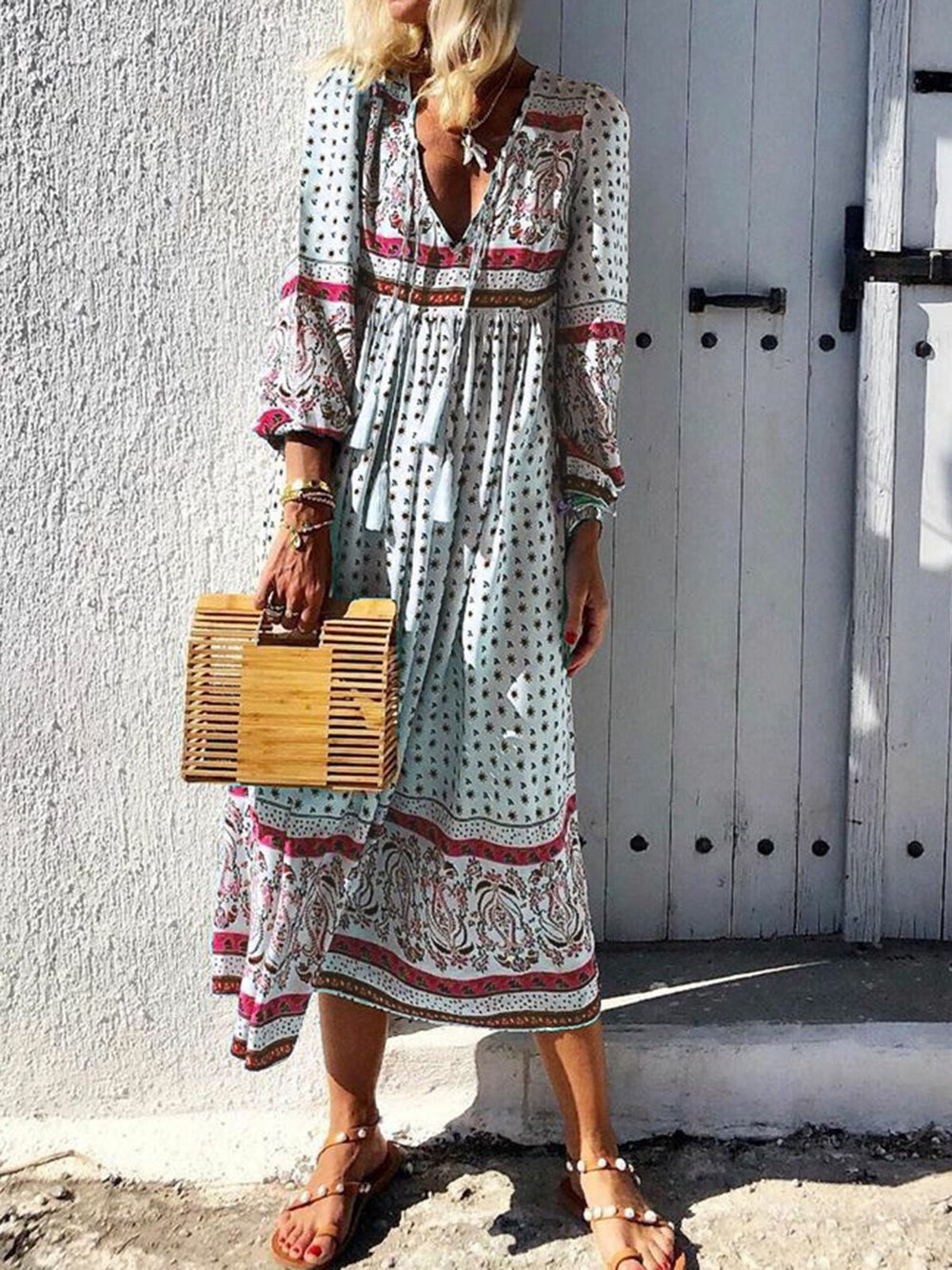Polka Dot A-Line Dress Boho Holiday V-Neck Long Sleeve Maxi Empire Dresses
