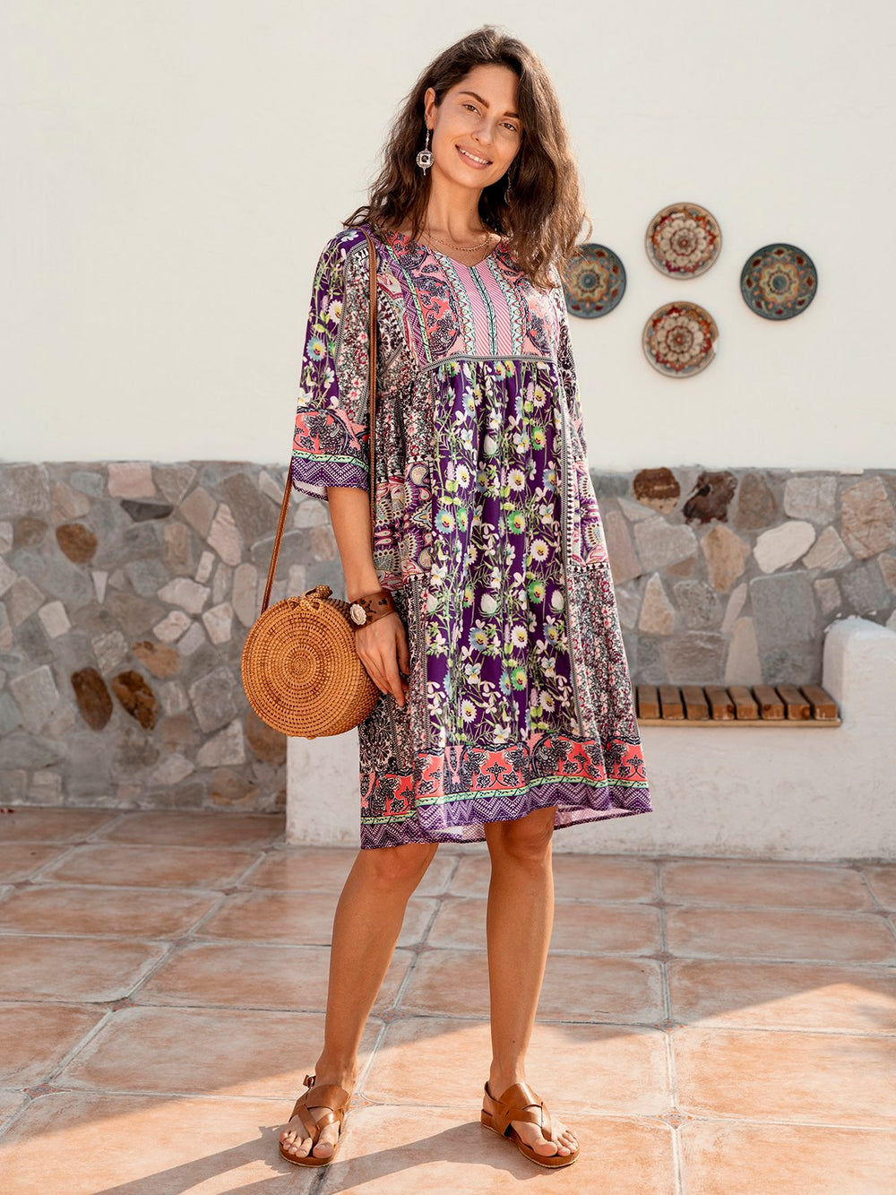 Half Sleeve Casual Cotton-Blend V Neck Dresses