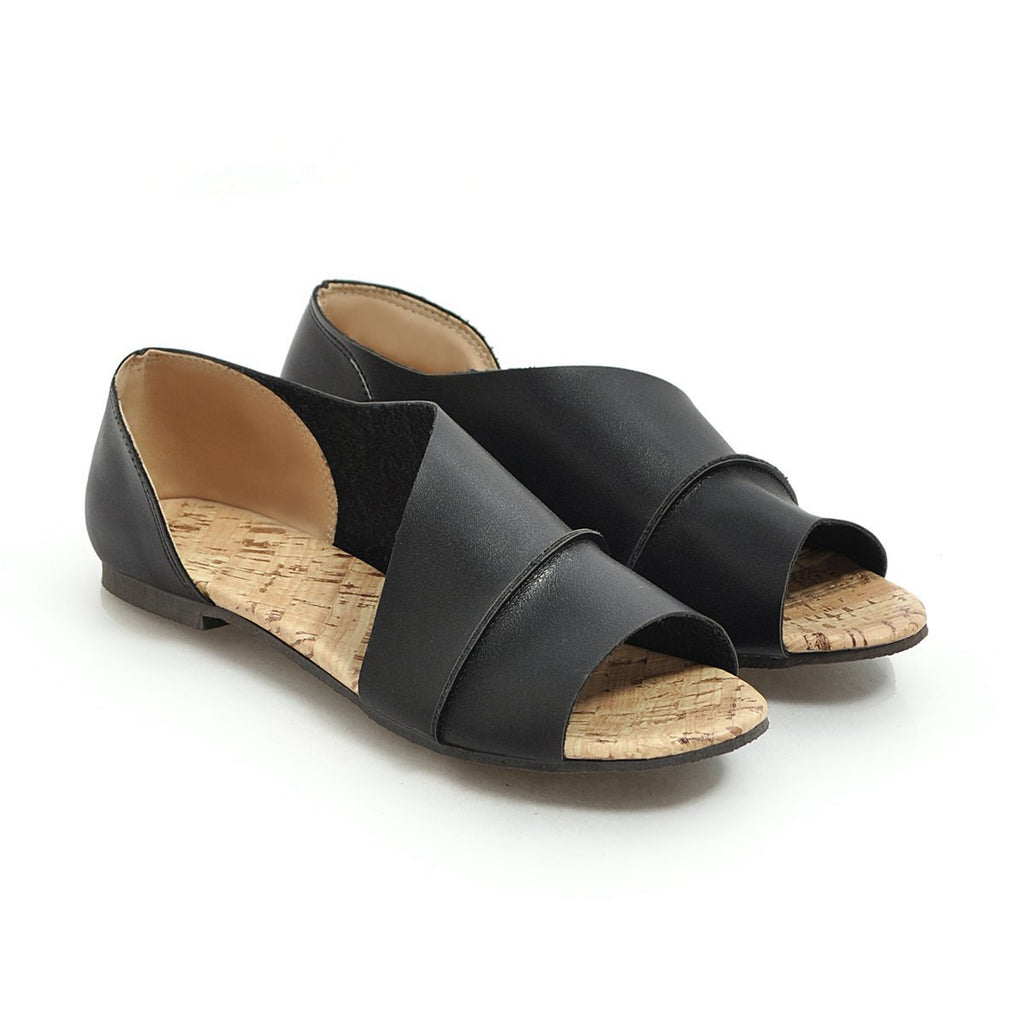 Peep Toe Slip On Flats Pu Low Heel Date Sandals