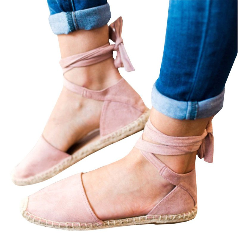 Plus Size Ankle Wrap Espadrille Flat Sandals