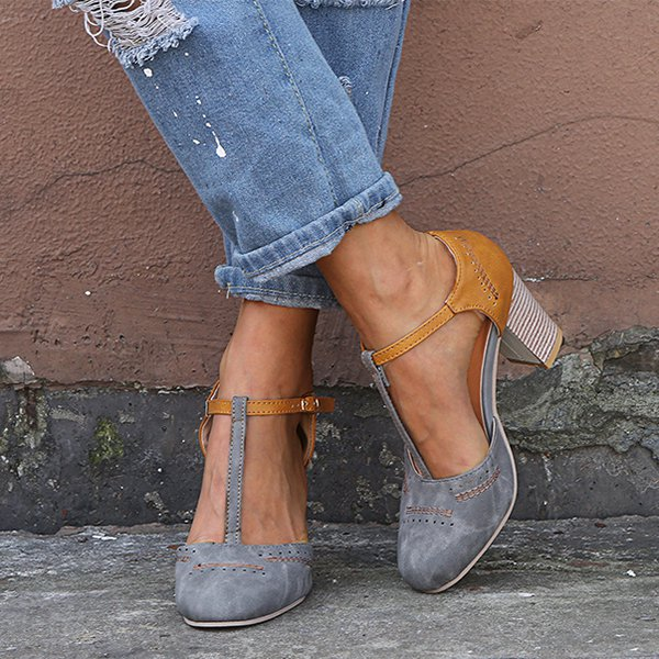 Grey Orange Women Vintage Color Block Sandals T-Strap Chunky Heel Buckle Shoes
