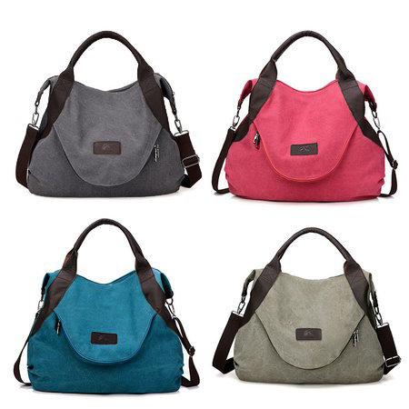 Durable Canvas Large Capacity Tote Bag Crossbody Bag For Women