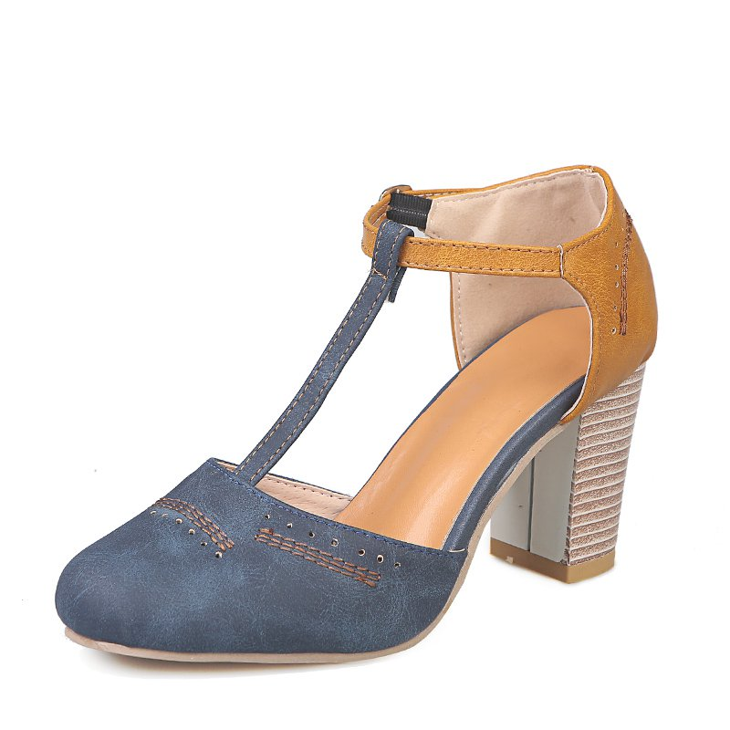 Blue Orange Women Vintage Color Block Sandals T-Strap Chunky Heel Buckle Shoes