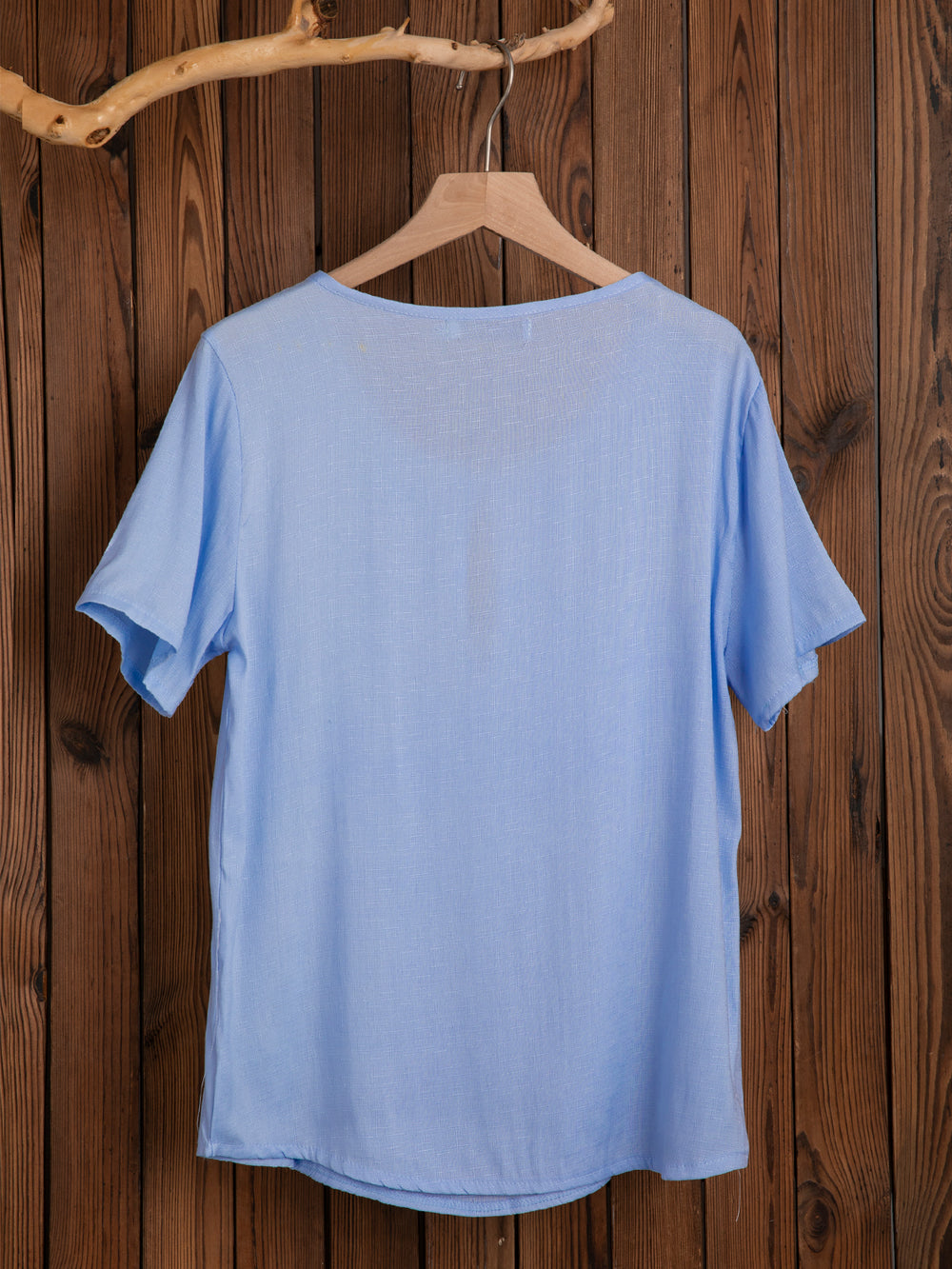 Cotton-Blend Short Sleeve Plain Shirts & Tops