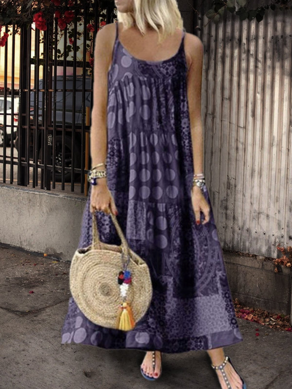Patchwork Maxi Dress Sleeveless Sundress Casual Cotton Slip Dress