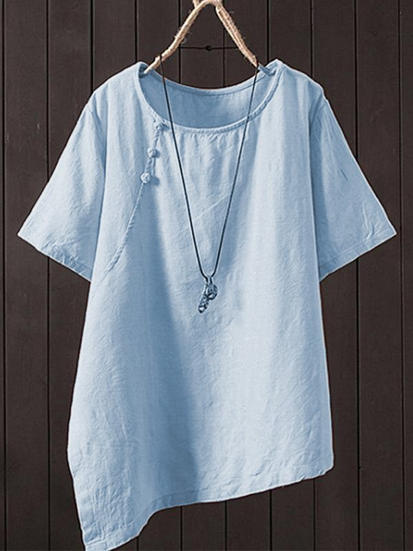 Casual Short Sleeve Round Neck Plus Size Tops