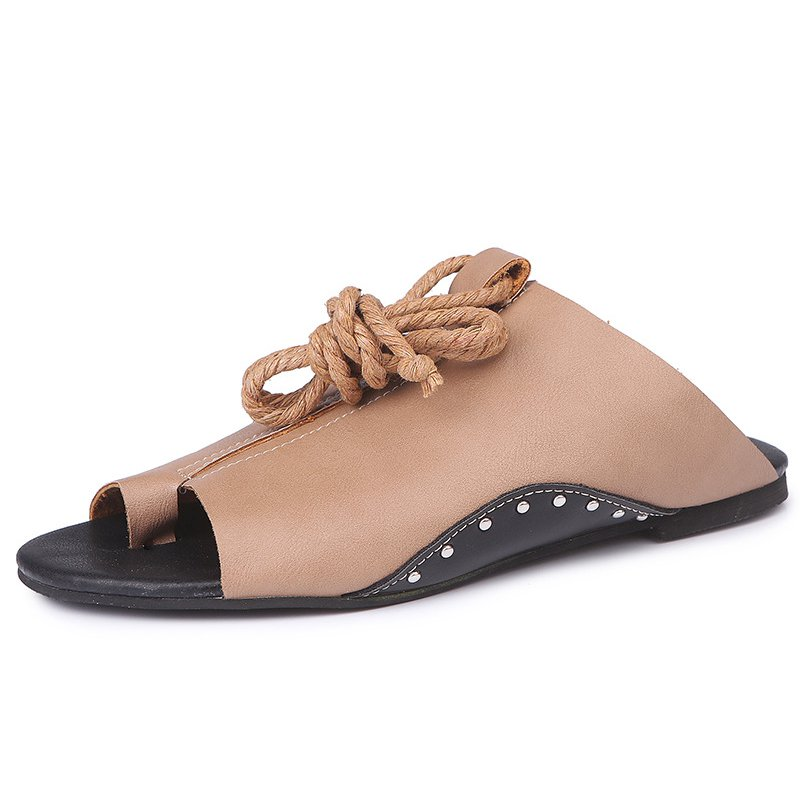 Womens Lace-Up Flat Heel Summer Shoes