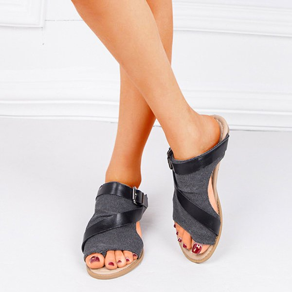 Daily Summer Adjustable Buckle Flat Heel Shoes