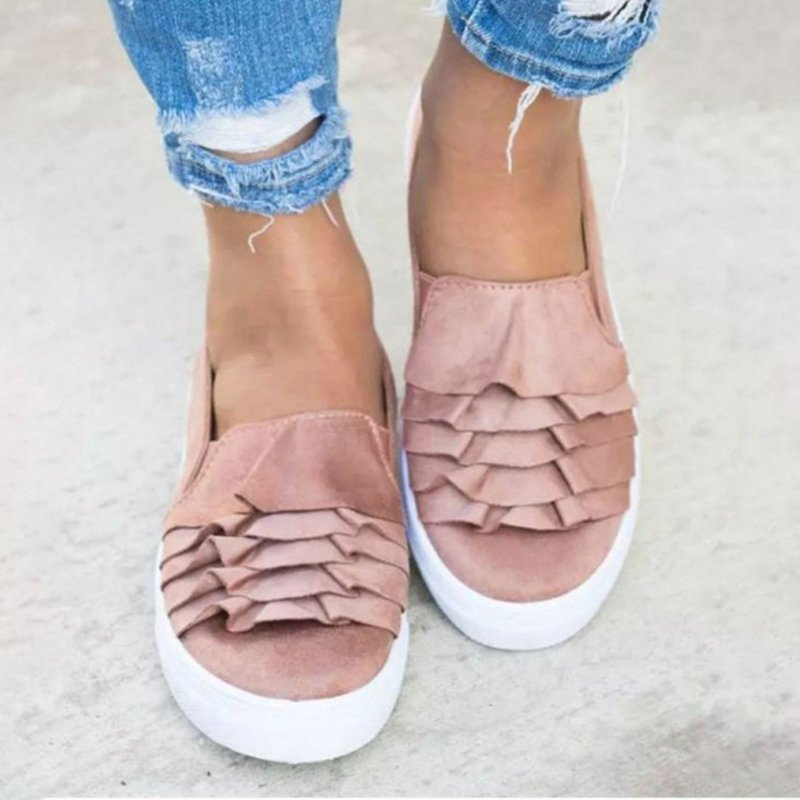 Women Loafers Daily Flat Heel Artificial Suede All Season Ruffles Shoes