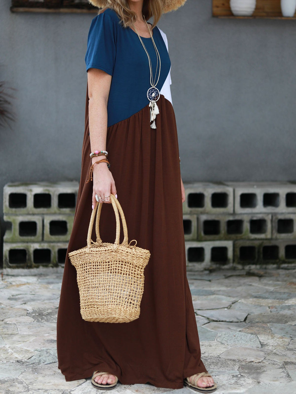Patchwork Colour Block Maxi Dress Cotton Simple Empire Dress
